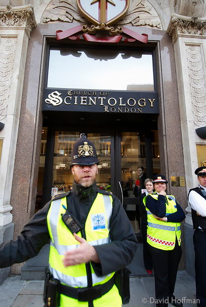 Anti-Scientology protesters outside the London Headquarters of the Church of Scientology. Feb 2008.