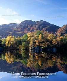Image - Ben Venue and autumn trees reflected in Loch Katrine, Trossachs