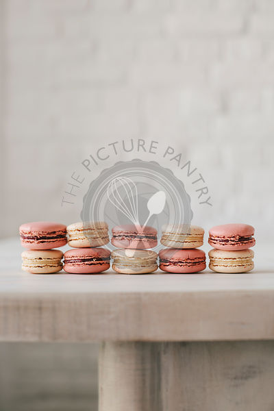 Hand made macarons on a modern light background