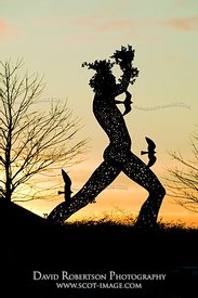 Image - Man in Motion sculpture in silhouette, Tullibody, Clackmannanshire, Scotland
