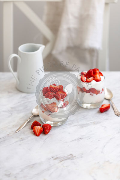 Strawberries and whipped cream dessert