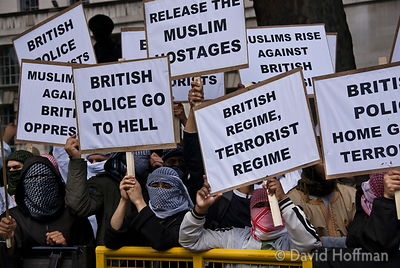 070615-228 Muslim demonstration against police oppression and terrorist stereotyping opposite Downing Street, Whitehall, Lond...