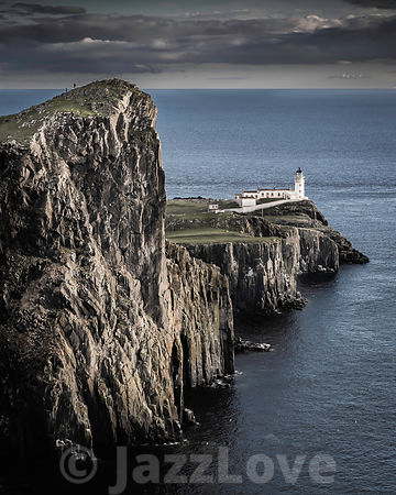 Neist Point, famous landmark with lighthouse on Isle of Skye, Scotland.