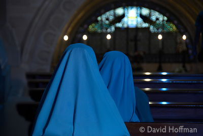 Nuns pray in a church in Akko aka Acre, Israel.