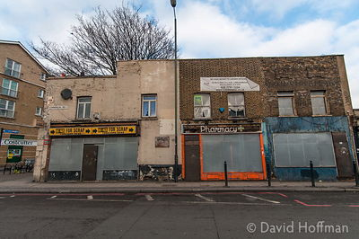 Squat in derelict commercial premises, Whitehorse Rd, East London February 2015.