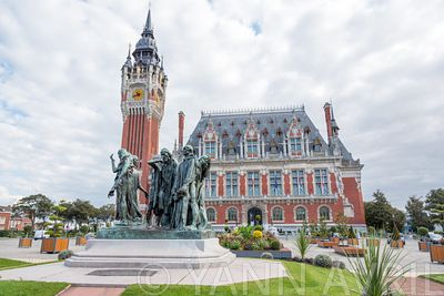 Calais, France - September 26, 2015: City hall of Calais. The burghers of Calais