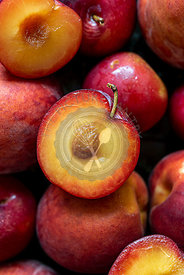 Sliced peaches and plums