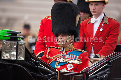 Prince Philip, Duke of Edinburgh riding to the Trooping the Colour Ceremony from Buckingham Palace