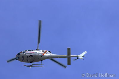 Police helicopter patrolling above London.