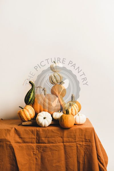 Colorful pumpkins for holiday decoration in pyramid composition on table