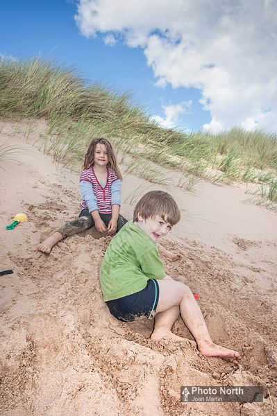 HAVERIGG 22A - Children playing in the sand dunes on Haverigg Beach