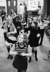 #74690,  Anna Scher Children's Theatre, Bentham Court Hall, Islington, North London 1972.  Kids would come after school and b...