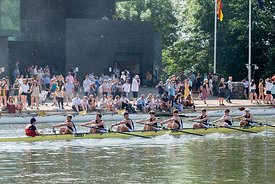 #124915,  Christ Church College boat on the water.  The 'Summer Eights', a week of rowing races for the Oxford University Col...