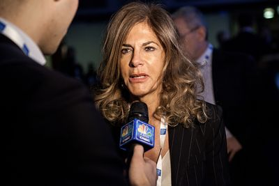 Emma Marcegaglia, president of ENI, Italian oil and natural gas company answering journalists' questions before her speech.