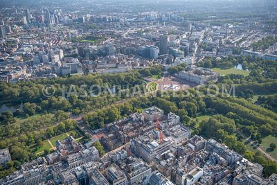 Aerial view of St James's  and Buckingham Palace, London.