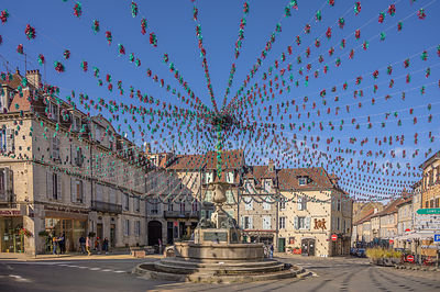 ARBOIS, FRANCE - OCTOBER 26, 2019: Decorations at the Place de la Liberte, 39600 Arbois, France,