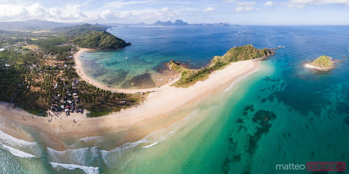 Aerial panorama of coastline, El Nido, Philippines