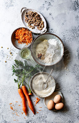 Ingredients for carrot cake.