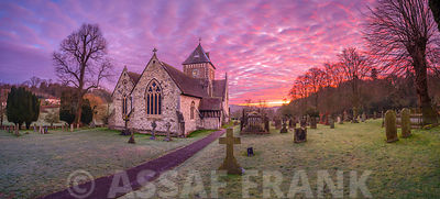 Sunrise over church
