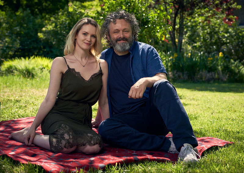 "Michael Sheen and Anna Lundberg in ""Staged""."