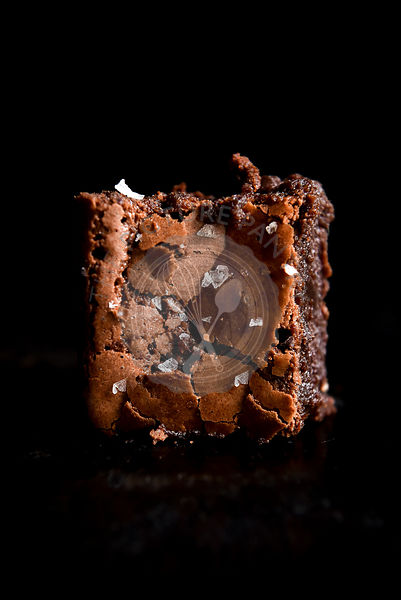 Raspberry Brownie against a black background