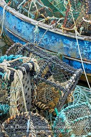 Image - Old fishing boat, nets and lobster pots.  Sgeir Lang Slipway, Trotternish, Isle of Skye, Highland, Scotland