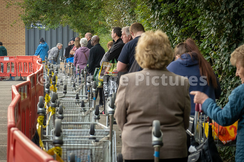 Queues at Sainsbury supermarket