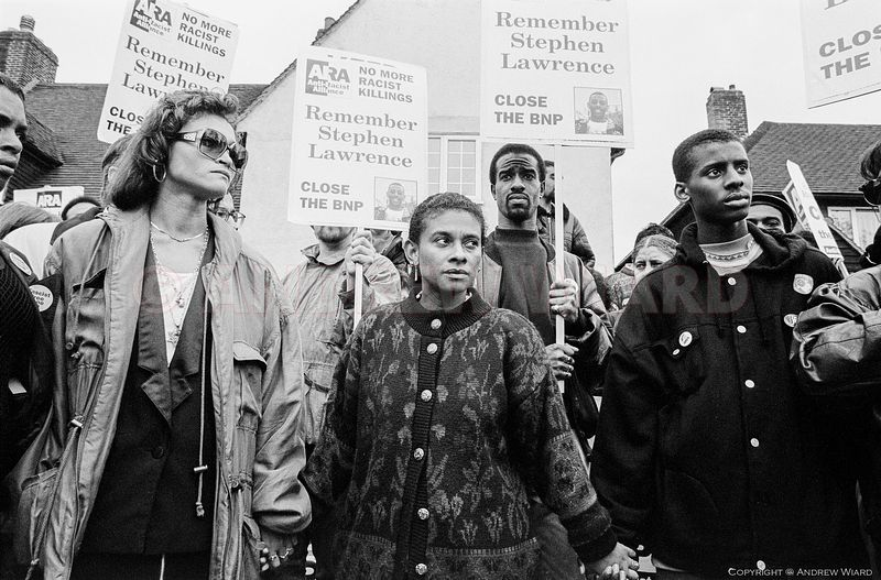 England, UK . 16.5.1993. London. Eltham. Doreen Lawrence in a 'Human chain for justice' in the road where her son Stephen Law...