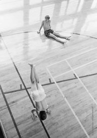 #83709,  PE in the gym, Whitworth Comprehensive School, Whitworth, Lancashire.  1970.  Shot for the book, 'Family and School,...