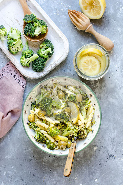 Pasta with broccoli, olives and preserved lemon