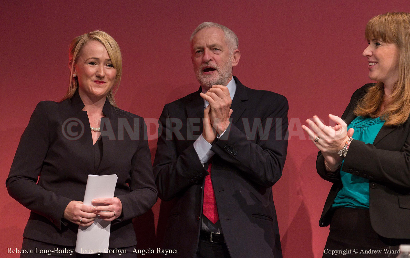England, UK . 26.9.2017. Brighton. Labour Party Conference Tuesday. Rebecca Long-Bailey - Jeremy Corbyn - Angela Rayner..