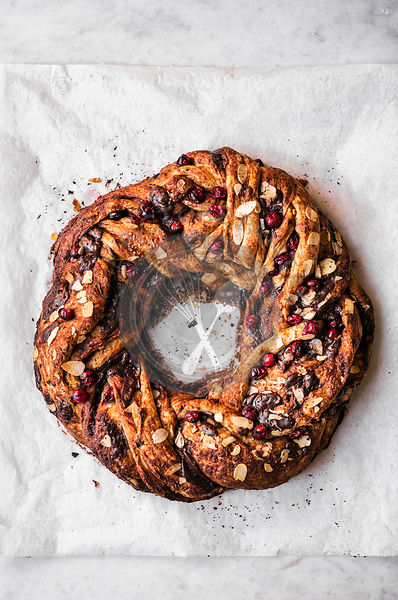 Chocolate Cranberry Almond Wreath Bread
