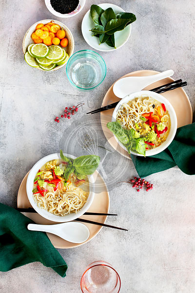 Roasted Romanesco Coconut Ramen Soup