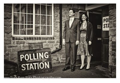 Nick = Miriam Clegg voting at their local polling staion at Bent's green Sheffield