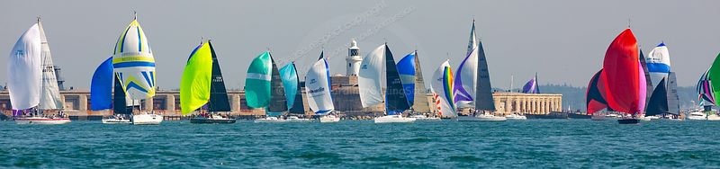 Spinnakers off Hurst, Round The Island Race 2019, 20190629080