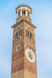 Lamberti tower on Erbe square in medieval city of medieval city Verona.