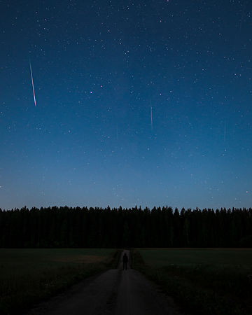 Five Perseid meteors above countryside landscape in Southern Finland on August 12th 2020. Composite.