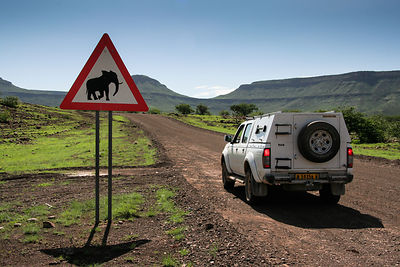 Elephant Warning Sign in Damaraland - Namibia 2008