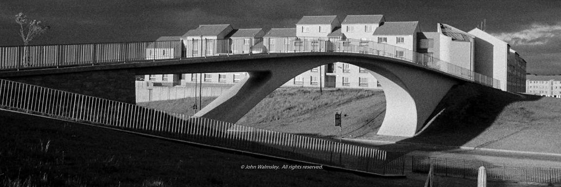 #75998  Elegant bridge in a storm, Wester Hailes, Scotland, 1979.  John Walmsley was Photographer in Residence at the Educati...