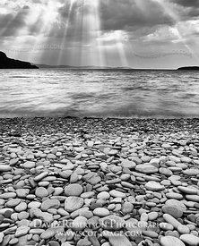 Image - Pebble beach and Loch Kanaird, Ardmair, near Ullapool, Wester Ross, Highland, Scotland. Black and White.