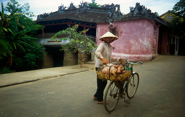 A woman goes back home from Hoi An market. Vietnam.