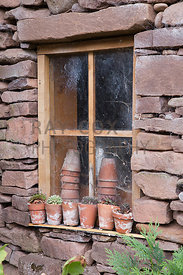Terracotta pots in potting shed window