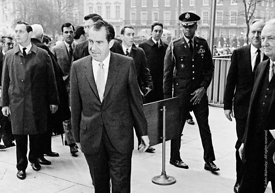 #77382,  US President Richard M Nixon arrives at the US Embassy in Grosvenor Square, London.  27th February 1969.