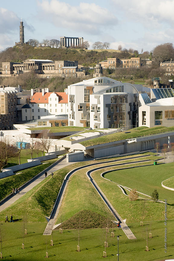#027668,  New Scottish Parliament building at Holyrood, Edinburgh.  Designed by Spanish architects, Enric Miralles & Benedett...