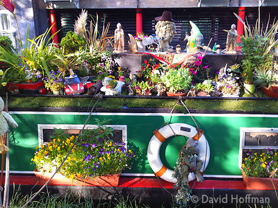 2015-06-25 19.07.56-1 Flowers cover a barge on the Regents Canal, Hackney, London.