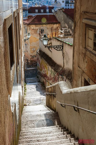 Empty stairway in the Barrio Alto, Lisbon, Portugal
