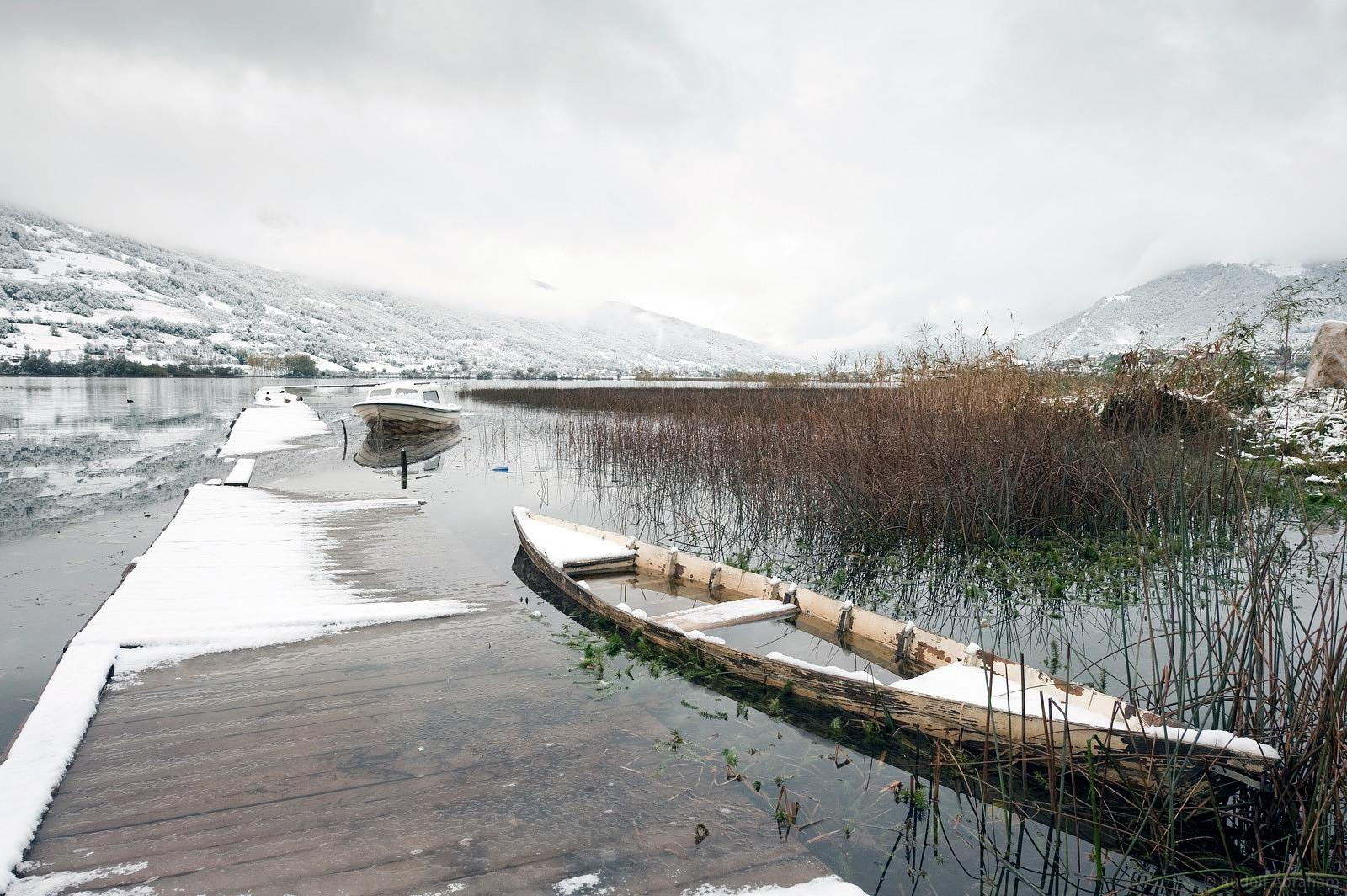 Snow on Lake Plav, Montenegro