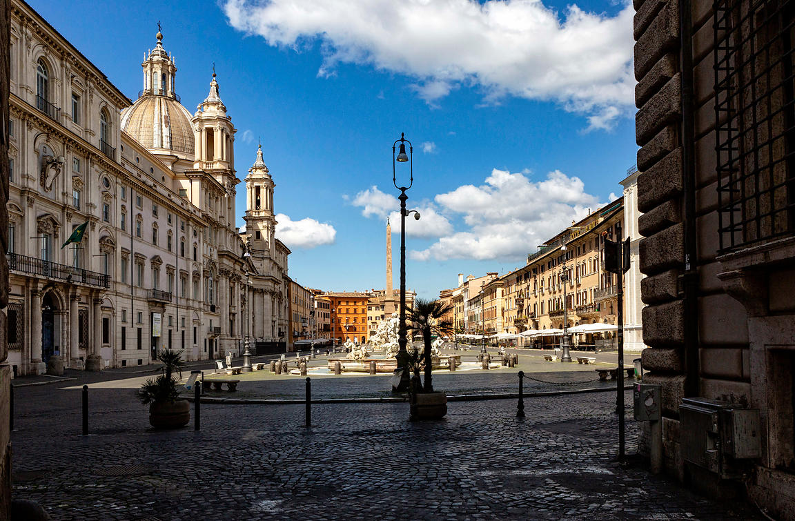 Piazza Navona during Coronovirus lockdown in Rome, Rome, Italy, 24, March, 2020