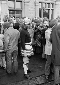 #77125,  The 'Nutters' Dance', Bacup, Lancashire,  1973.  On Easter Saturday every year the 'Coconut Dancers' gather at one b...