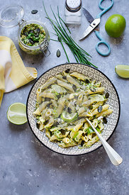 Pasta salad with zucchini pesto